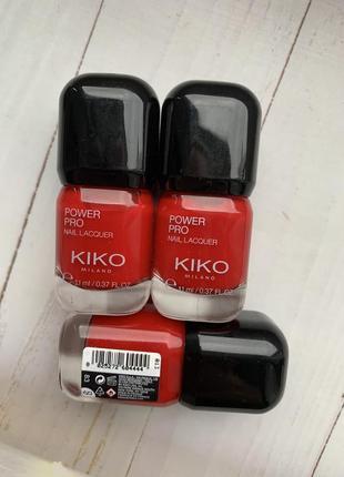 Стойкий красный лак kiko milano power pro