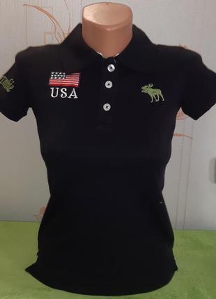Оригинальная футболка поло чёрного цвета abercrombie & fitch made in macau
