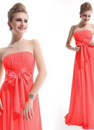 Нарядное коралловое платье бюстье