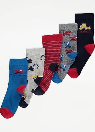 Носки george набор носочков 5 пар строительная техника транспорт