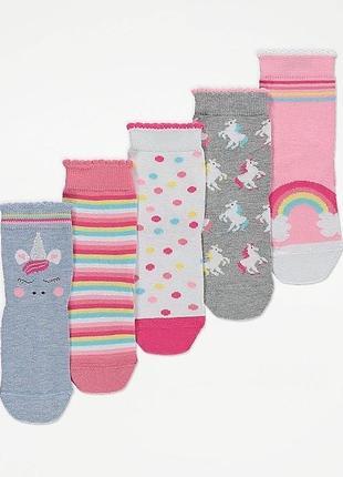 Носки george набор носочков из 5 пар с единорогами