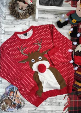 Свитер тёплый новогодний рождественский олень осень зима f&f
