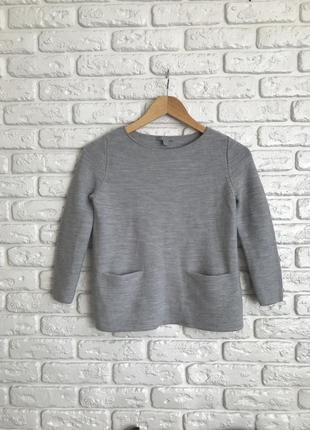 В'язана кофта джемпер шерстяний светр, вязанная шерстяная кофта свитер с карманами