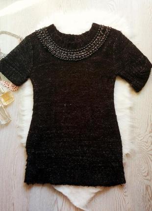 Черная теплая вязанная туника свитер кофта воротником со стразами платье батал большой
