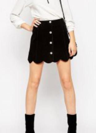 Натуральная замшевая юбка на кнопках xs/s