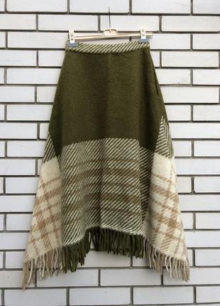 Винтаж,шерсть,теплая, ассиметричная юбка с бахромой,этно бохо стиль