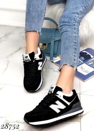 ❤ женские черные замшевые зимние кроссовки new balance 574 ❤