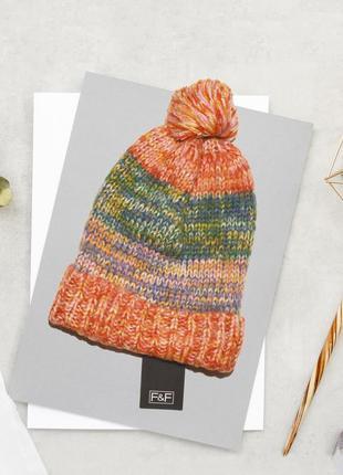 Разноцветная акриловая шапка f&f