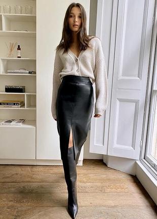 Кожаная юбка карандаш с разрезом ,кожа 100%,h&m