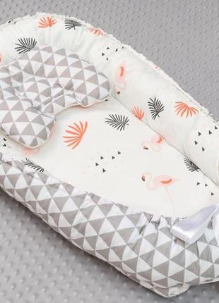Кокон гнездышко для новорожденных малышей с подушечкой