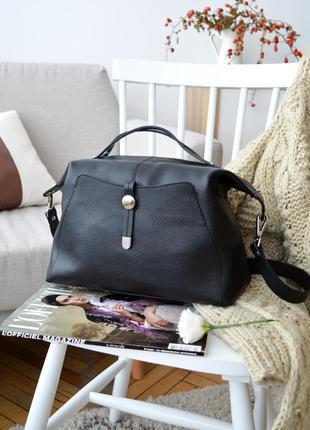 Большая мягкая итальянская кожаная черная сумка, borse in pelle италия