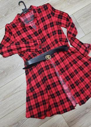 Платье рубашка красная в клетку