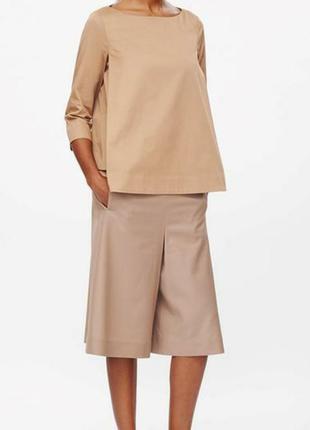 Карамельная, светло-коричневая блуза-топ из хлопка xs-s