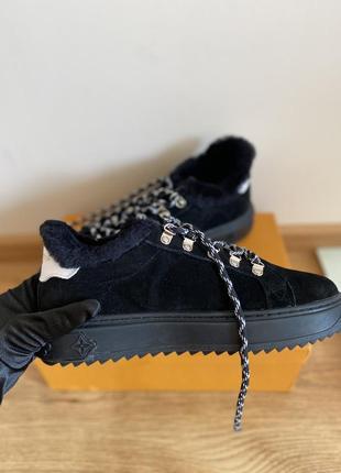 Новые зимние черные женские кеды