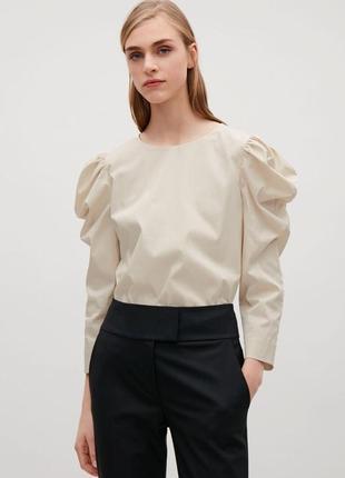 Бежевая блуза-топ с пышными рукавами cos xs-s