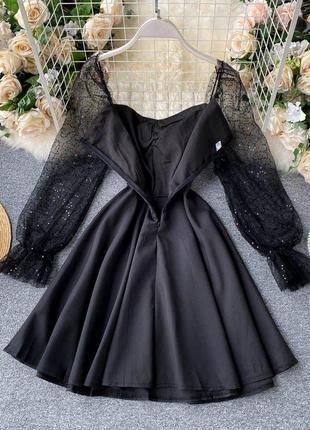 Стильное черное платье расклешенное💖💖💖