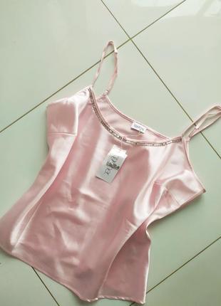 Нежно ррзовая атласная майка для сна пижама баталити батал большого размера