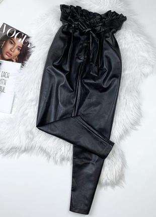 Кожаные штаны высокая посадка  fashion union