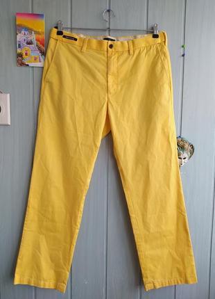 Стильные желтые брюки чинос размер 34w/29l, 100% коттон