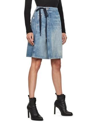 Юбка джинсовая а-силуэт с эффектом запаха g-raw star