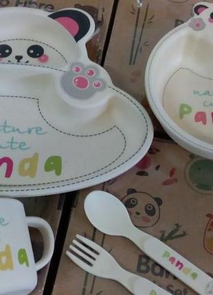 Набор детской посуды бамбуковый 5 панда