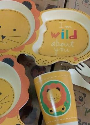 Набор детской посуды бамбуковый 5 приборов  лев