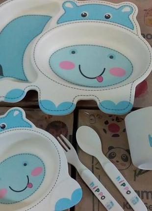 Набор детской посуды бамбуковый 5 приборов бегемот