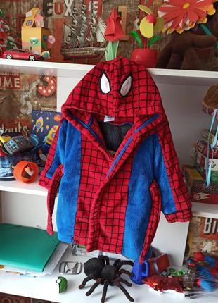 Плюшевый халат disney spiderman человек паук на 2 года, 92 см