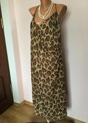 Итальянское леопардовое шелковое платье класса люкс /48/brend marina rinaldi max mara