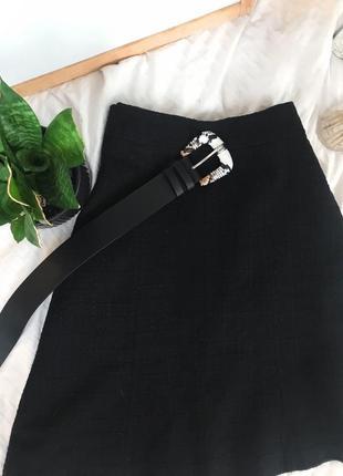 Черная теплая миди юбка букле h&m