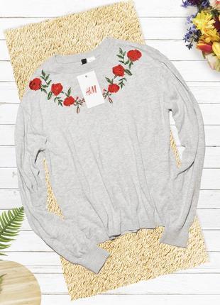 Новый серый свитшот с розами h&m