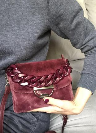 Новая брендовая сумка из меха roccobarocco karl lagerfeld kors оригинал