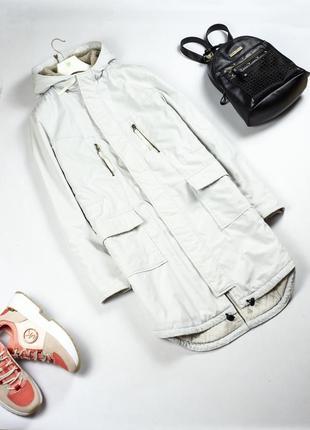 Стильная белая длинная утепленная куртка с капюшоном парка оригинал levis m l