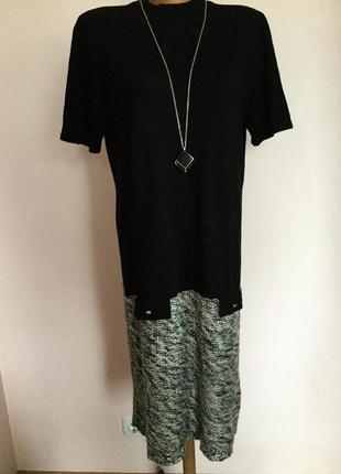 Тёплое трикотажное комбинированное платье/44/brend amy vermont