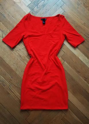 Платье красное, короткое h&m