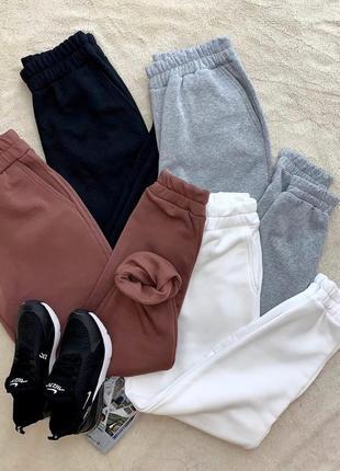 Тёплые штаны на манжете серые
