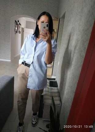 Стильная длинная рубашка в голубую полоску l