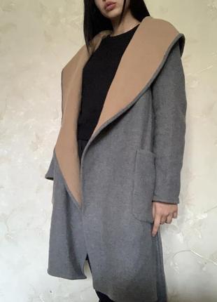 Серое пальто zara широкое длинное тёплое на поясе кардиган серый s m