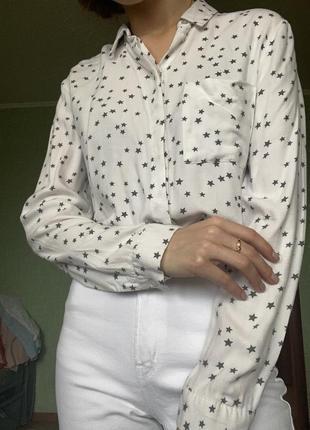 Белая укорочённая рубашка