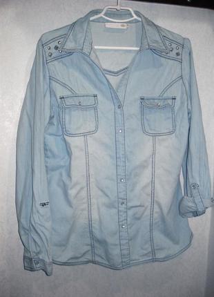 Рубашка units coop danmark джинсовая светлая голубая коттон