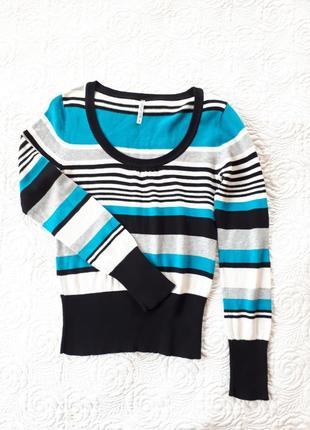 Джемпер пуловер кофточка в полоску смужку terranova