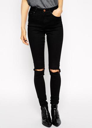 Чёрные джинсы скини с рваными коленами на высокой посадке (как zara, asos, h&m)