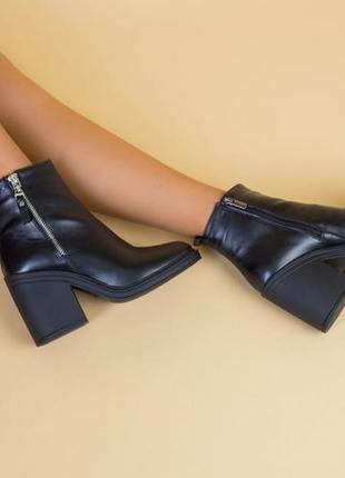 💥кожаные ботильоны на устойчивом каблуке. женские ботильоны натуральная кожа
