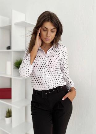 Блуза рубашка в горошек