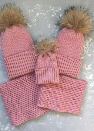 Зимний фемели лук,шапочка хомут снуд