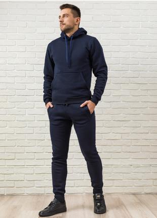 Теплый мужской спортивный костюм темно-синий, худи с капюшоном и мужские спортивные штаны