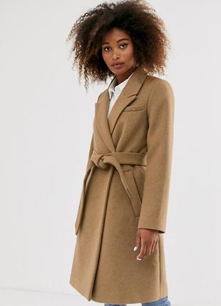 Пальто демисезонное деми миди осень кэмел бежевое теплое шерсть с поясом новое