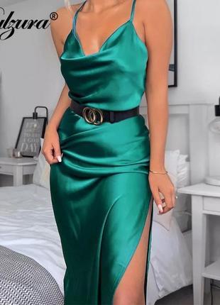 Платье атлас плаття на брительках атласное платье
