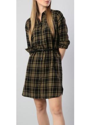 Оверсайз рубашка туника платье сорочка в клетку хаки colins