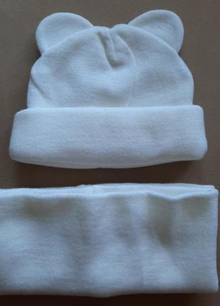 Набор шапка+шарф хомут белый